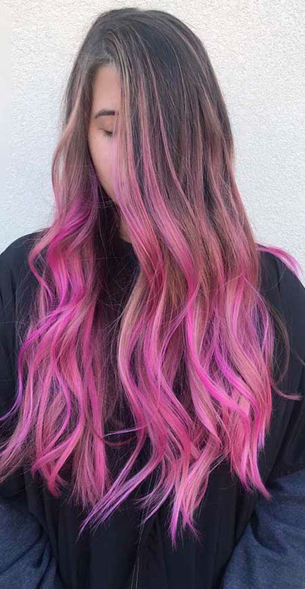 Long Pink Hair Color Ideas